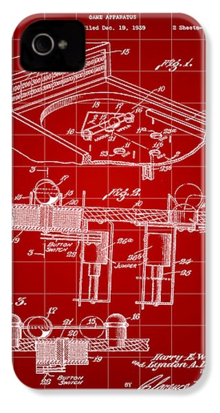 Pinball Machine Patent 1939 - Red IPhone 4 Case by Stephen Younts
