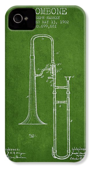Trombone Patent From 1902 - Green IPhone 4 Case by Aged Pixel