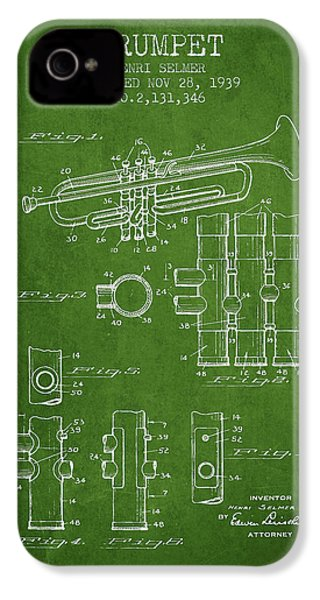 Trumpet Patent From 1939 - Green IPhone 4 Case by Aged Pixel