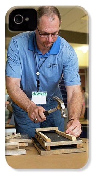 Volunteers Making Bat Houses IPhone 4 Case by Jim West