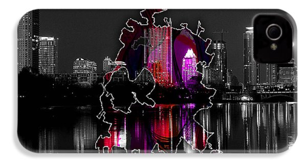 Austin Map And Skyline Watercolor IPhone 4 Case