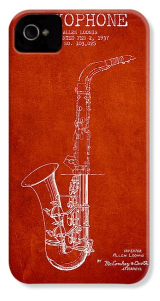 Saxophone Patent Drawing From 1937 - Red IPhone 4 / 4s Case by Aged Pixel