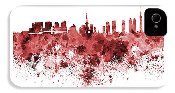Tokyo Skyline In Watercolor On White Background IPhone 4 Case by Pablo Romero