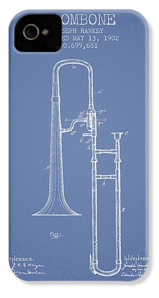 Trombone Patent From 1902 - Light Blue IPhone 4 Case by Aged Pixel