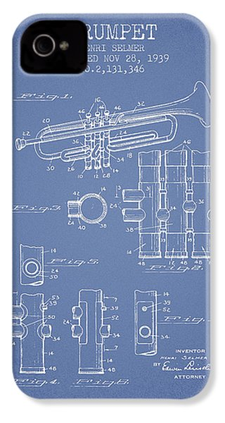 Trumpet Patent From 1939 - Light Blue IPhone 4 Case by Aged Pixel