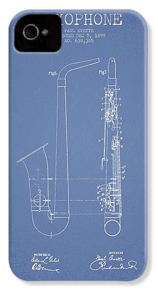 Saxophone Patent Drawing From 1899 - Light Blue IPhone 4 Case by Aged Pixel