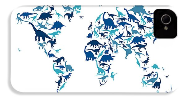 Dinosaur Map Of The World Map IPhone 4 / 4s Case by Michael Tompsett