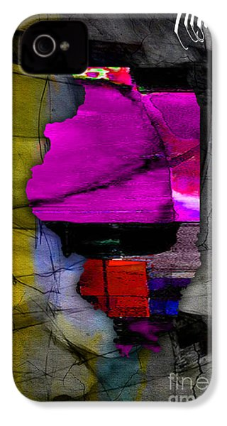 Illinois Map Watercolor IPhone 4 Case by Marvin Blaine