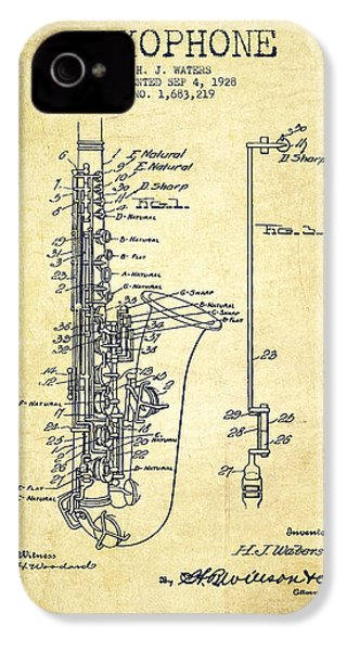 Saxophone Patent Drawing From 1928 IPhone 4 Case