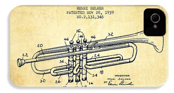 Vinatge Trumpet Patent From 1939 IPhone 4 Case by Aged Pixel