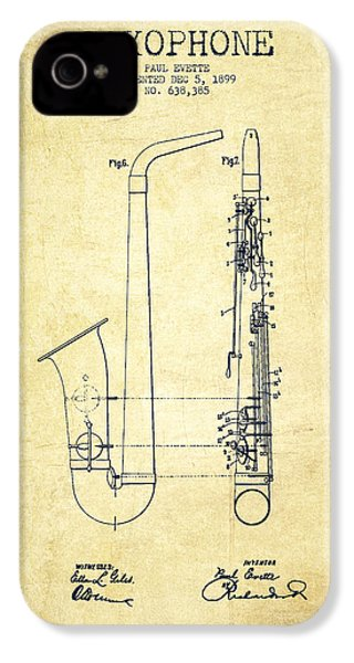 Saxophone Patent Drawing From 1899 - Vintage IPhone 4 Case by Aged Pixel