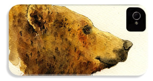 Grizzly Bear IPhone 4 Case by Juan  Bosco