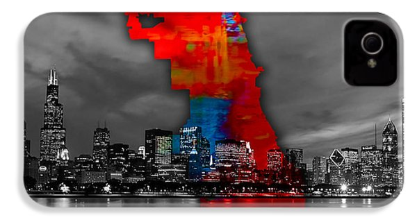 Chicago Map And Skyline Watercolor IPhone 4 / 4s Case by Marvin Blaine