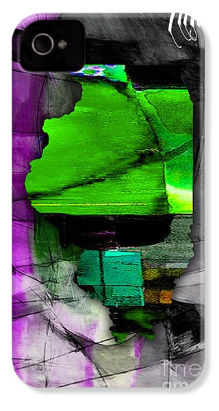 Illinois Map Watercolor IPhone 4 / 4s Case by Marvin Blaine