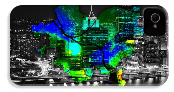 Pittsburgh Map And Skyline Watercolor IPhone 4 / 4s Case by Marvin Blaine