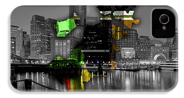 Boston Map And Skyline Watercolor IPhone 4 Case