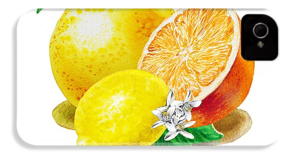IPhone 4 Case featuring the painting A Happy Citrus Bunch Grapefruit Lemon Orange by Irina Sztukowski
