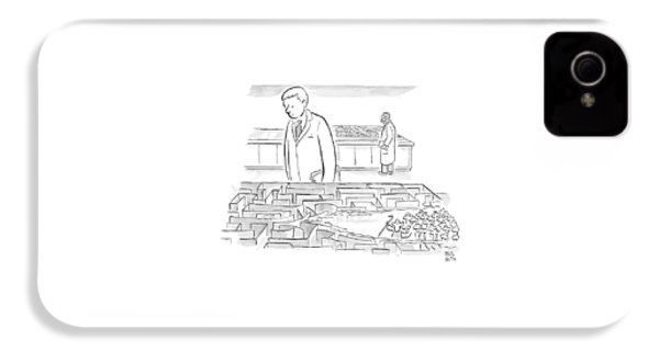 A Laboratory Scientist Looks On As The Walls IPhone 4 Case by Paul Noth