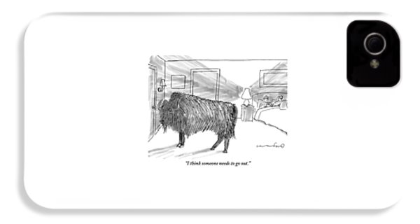A Large Buffalo Stands Near The Door IPhone 4 Case by Michael Crawford