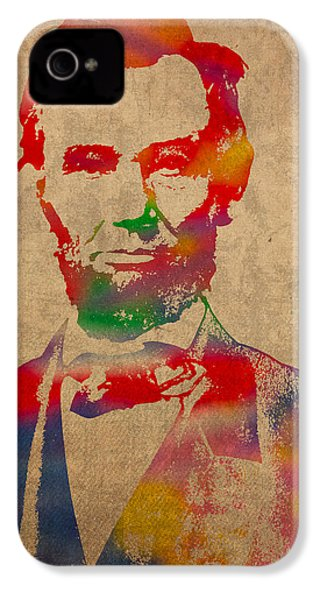 Abraham Lincoln Watercolor Portrait On Worn Distressed Canvas IPhone 4 Case by Design Turnpike