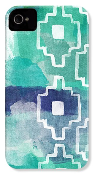 Abstract Aztec- Contemporary Abstract Painting IPhone 4 Case