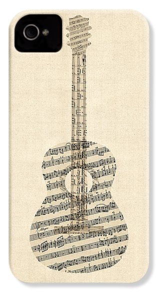 Acoustic Guitar Old Sheet Music IPhone 4 / 4s Case by Michael Tompsett