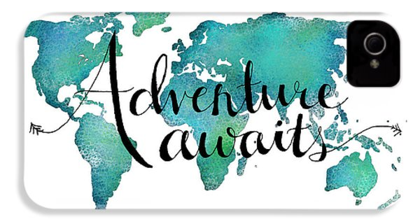 Adventure Awaits - Travel Quote On World Map IPhone 4 / 4s Case by Michelle Eshleman