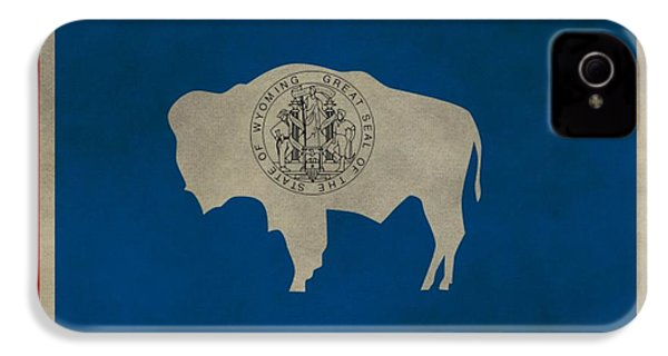 Aged Wyoming State Flag IPhone 4 Case by Dan Sproul