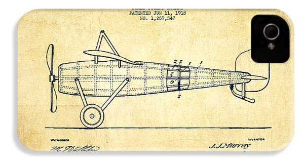 Airplane Patent Drawing From 1918 - Vintage IPhone 4 Case by Aged Pixel