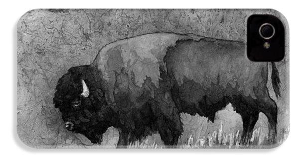 Monochrome American Buffalo 3  IPhone 4 Case by Hailey E Herrera