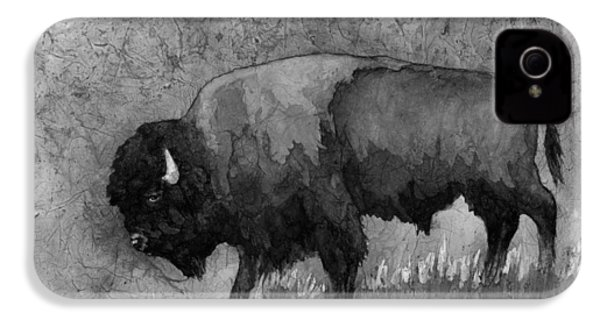 Monochrome American Buffalo 3  IPhone 4 Case by Hailey E Herrera