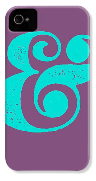 Ampersand Poster Purple And Blue IPhone 4 / 4s Case by Naxart Studio