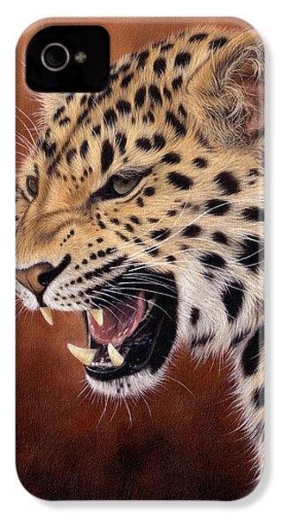 Amur Leopard Painting IPhone 4 Case by Rachel Stribbling