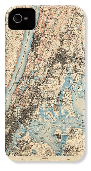 Antique Map Of New York City - Usgs Topographic Map - 1900 IPhone 4 Case by Blue Monocle