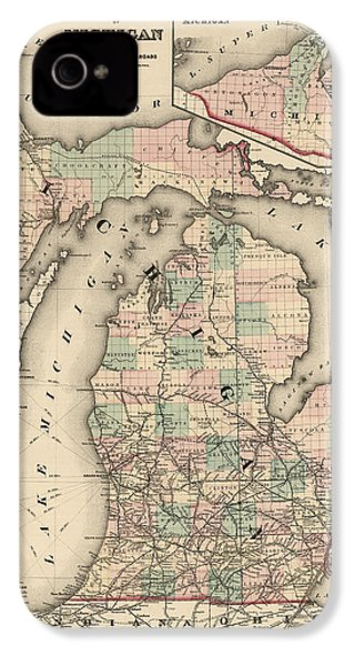 Antique Railroad Map Of Michigan By Colton And Co. - 1876 IPhone 4 Case