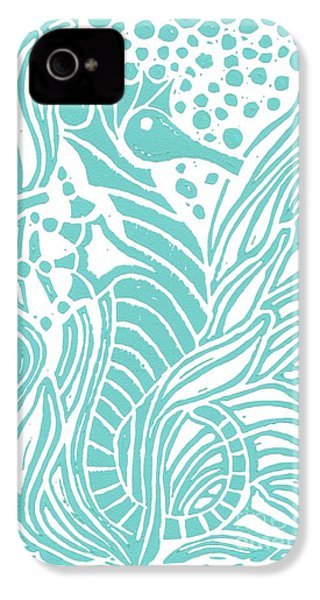 Aqua Seahorse IPhone 4 Case by Stephanie Troxell