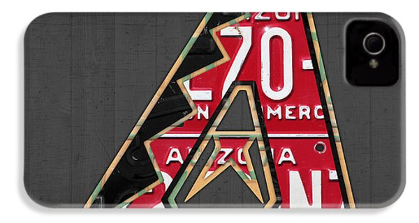 Arizona Diamondbacks Baseball Team Vintage Logo Recycled License Plate Art IPhone 4 Case by Design Turnpike