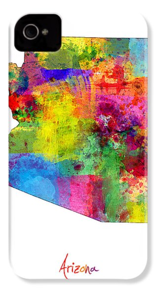Arizona Map IPhone 4 / 4s Case by Michael Tompsett