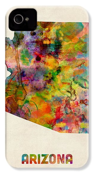 Arizona Watercolor Map IPhone 4 Case by Michael Tompsett
