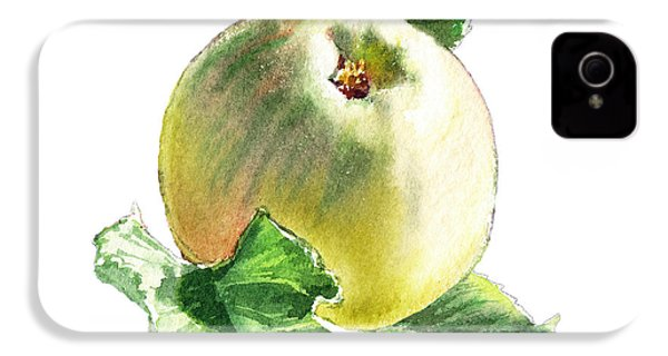 IPhone 4 Case featuring the painting Artz Vitamins Series A Happy Green Apple by Irina Sztukowski
