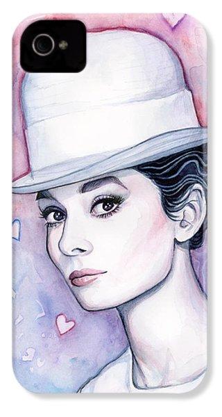 Audrey Hepburn Fashion Watercolor IPhone 4 Case