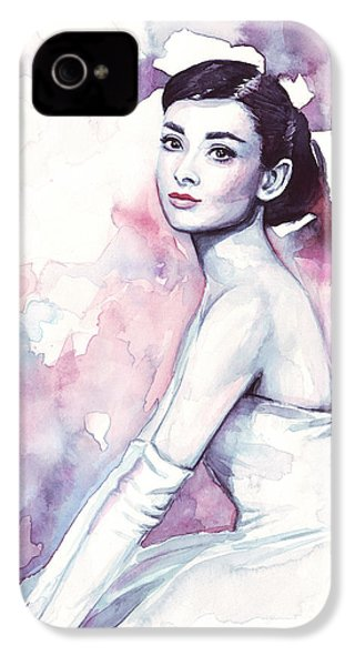 Audrey Hepburn Purple Watercolor Portrait IPhone 4 / 4s Case by Olga Shvartsur