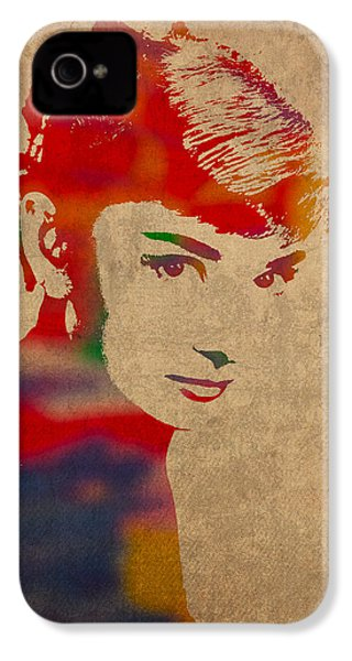 Audrey Hepburn Watercolor Portrait On Worn Distressed Canvas IPhone 4 Case by Design Turnpike