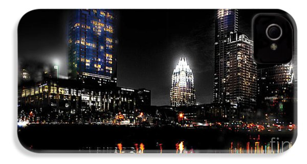 Austin Night Skyline Reflections  IPhone 4 / 4s Case by Gary Gibich