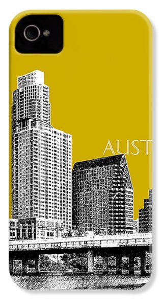 Austin Texas Skyline - Gold IPhone 4 / 4s Case by DB Artist