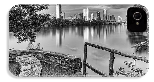 Austin Texas Skyline Lou Neff Point In Black And White IPhone 4 / 4s Case by Silvio Ligutti