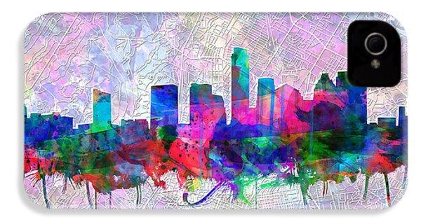Austin Texas Skyline Watercolor 2 IPhone 4 Case