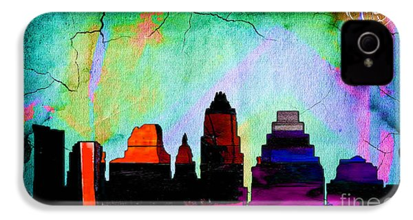 Austin Texas Skyline Watercolor IPhone 4 / 4s Case by Marvin Blaine