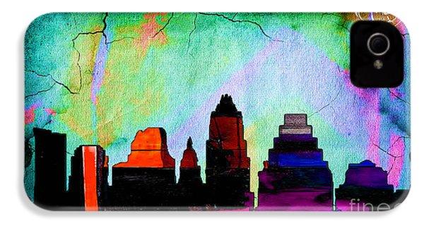 Austin Texas Skyline Watercolor IPhone 4 Case by Marvin Blaine