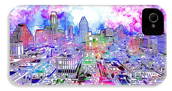 Austin Texas Watercolor Panorama IPhone 4 Case